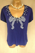 phase eight beaded bow stretchy short sleeved jumper/top 18