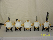 RARE-Antique GDA Limoges Hand Painted Gold Gilded Butter Pate Dish Set