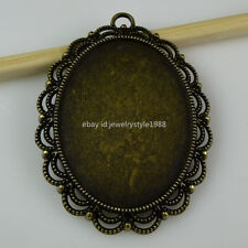 10983 5PCS Flower Lace Frame Base Cameo Holder Setting Pendant Charms Vintage