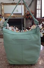 New B. Makowsky Large Soft Leather Shoulder Hobo Hand Bag Purse Light Blue Green