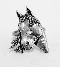 Horse's Head Ladies Ring, Adjustable, English Pewter, Handmade, riding (ab)