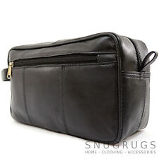 Mens Super Soft 100% Luxury Leather Travel / Holiday Wash Bag with Wrist Strap