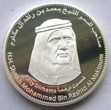 UAE 2010 10th Anniversary DFM 50 Dirhams 1.2oz Silver Coin,Proof