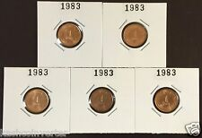 Singapore 1983 1 ct High Rise HDB UNC Coin (Lot of 5 pcs) key date