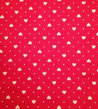 Rose and Hubble Red with Small White Hearts 100% Cotton Fabric By the Half Metre