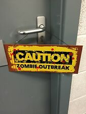 Halloween Caution Zombie Outbreak Sign Decoration Party Prop Decorations Hanging