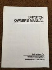Bryston BP-20 abd BP-25 Original Instruction Manual 5 Pages