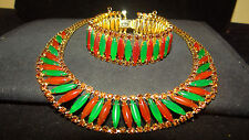 Vintage signed HATTIE CARNEGIE Jade & Carnelian egyptian necklace bracelet set