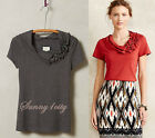NEW Anthropologie Blossom-Smocked Cowl Tee By Deletta 5 Star Rev Feminine Comfy