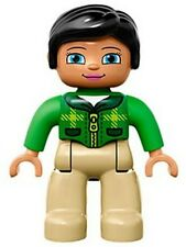 LEGO - Duplo Figure, Female, Tan Legs, Green Top w/ Tartan Pattern, Black Hair