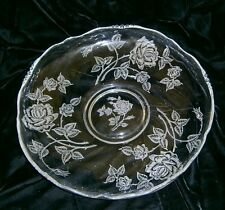 Vintage Elegant Glass large Platter Serving Plate Etched Cabbage Roses