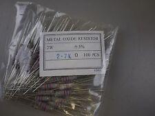 (100) Yageo RSF200 2K7 5% 2W Metal Oxide Film Resistors