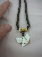 """(s5-15) 1-1/4"""" Modern TIGER SHARK TOOTH 19"""" brown aceh bovine cow bone NECKLACE"""