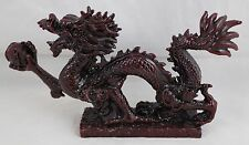 "Chinese Oriental Feng Shui Cherry Red Tone Dragon Figurine Statue 9"" with Box"