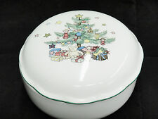 "Nikko Christmas Tree Covered Candy Dish Trinket Box 5"" Porcelain Excellent"
