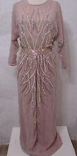 Vintage RUBEN PANIS Sheer Nude Illusion Lavender Silk Beaded Dolman Sleeve Gown