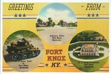 Greetings from Fort Knox Kentucky Gold Depository Army Tank etc. Modern Postcard