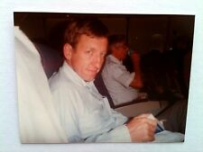 Vintage 80s Photo Of Flight To London White Man Brown Hair Blue Eyes Reading