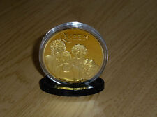 FREDDIE MERCURY & QUEEN GOLD CLAD COIN IN ACRYLIC CASE.