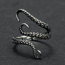 Vintage Titanium Steel Octopus Sea Monster Squid Kraken Punk Antique Ring Retro