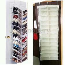 26 PAIR OVER THE DOOR HANGING SHOE RACK ORGANISER HOLDER SHOE STORAGE HOOK White