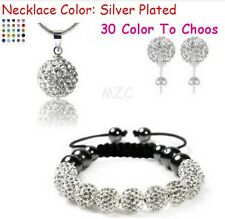 4set/lot 10mm white clay crystal shamballa set earring necklace pendant bracelet