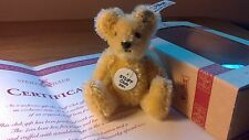 Steiff 2001 CLUB REGALO Mohair REPLICA 7cm in scatola con certificato & BADGE NO2