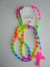 Day-Glo Multi Neon Rainbow Acid Rave Fun Funky Rubber Necklace Rosary Pendant