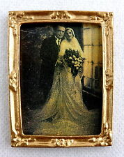 Dolls House Miniature Accessory Old Fashioned Wedding Picture in Gold Frame 1:12