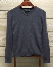 Polo By Ralph Lauren Mens V-Neck 100% Lambs Wool Blue Sweater Pony Logo L Large
