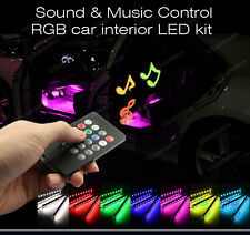 12V Auto Interni RGB COLOUR LED STRIP LIGHT WIRELESS MUSIC CONTROL 7 colori