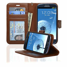 Navor Leather Wallet Case for Samsung Galaxy S3 Card Slots Money ID Pocket