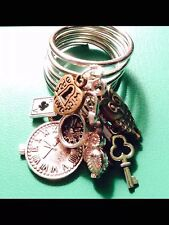 Steampunk Clock Key Owl + Lock Dangle Metal Charm Ring