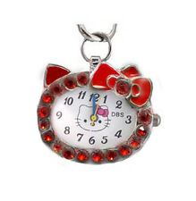Cartoon Cat  Red Crystal Stone Necklace Pendant Pocket Watch & Free Gift Box