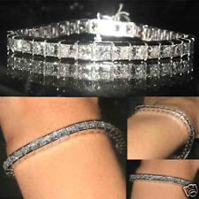 15.8 ct natural H VS2 princess cut diamond tennis bracelet 14k white gold 7 inch