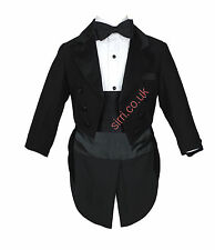 Baby & Boys 5 PCS Tuxedo Tail Suits Christening Baptism Wedding Pageboy Outfit