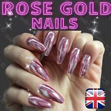 ROSE GOLD MIRROR POWDER ALUMINIUM EFFECT CHROME HOT NAILS PIGMENT SILVER UK (R)