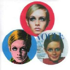 3 TWIGGY  BADGES. POP ART, MOD, FASHION, 1960's.