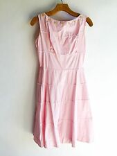 Vintage Dress Pink Rick Rack Buttons Betty Barclay Rockabilly Swing VLV