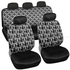 Car Seat Covers White Skull Design Universal Fit Full Set Auto Accessory