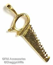 Handsaw Charm Saw Carpenter Tool Gadgets & Tools Pendant 24k Gold Plated Jewelry
