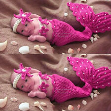 Knit Crochet Mermaid Dress Costume for Photo Prop Outfit Gift for Baby Girl