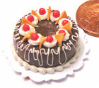 1:12 Scale Round Cake With Chocolate Icing Doll House Miniature Accessory HZ