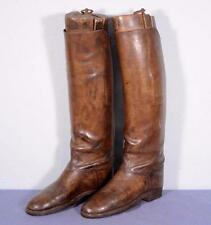 Antique French Women's Leather Riding/Equestrian Boots w/Wooden Forms Size 11.5