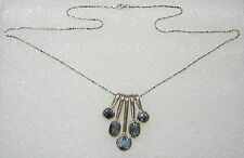 STERLING SILVER ABSTRACT MULTI QUARTZ PENDANT ON 23 INCH NECKLACE N654-K
