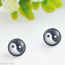 BD 1Pair Punk Unisex Women Men General Yin Yang Pattern Magnet Stud Earrings