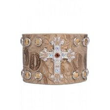 RHINESTONE TAN BEIGE GOLD CROSS CROCO LEATHER BELT CUFF BRACELET