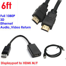 YellowKnife 1920X1200p Gold Plated DisplayPort to HDMI MF Adapter+ Gold 6ft HDMI