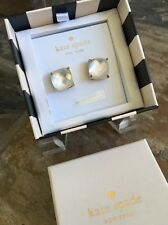 "GIFT BOX Kate Spade Gold Plate ""Mother Of Pearl"" White Square Stud Earrings, NWT"