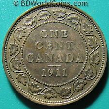 CANADA 1911 ONE 1 LARGE CENT GEORGE V COLLECTABLE CANADIAN COIN BRONZE 25mm